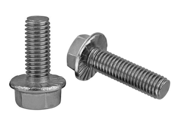 "Plain Finish Fully Threaded Flange Frame Bolts FT UNC 3/8 "" -16 X 1 - 1/4 "" Stainless Steel"